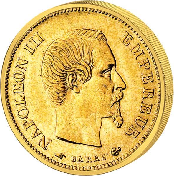 10 Francs  Napoleon III. ohne Kranz  1854-1860  Sehr schön