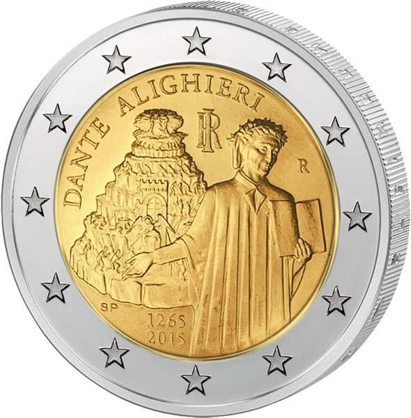 2 Euro Italien 750. Geburtstag Dante Alighieri 2015 prägefrisch