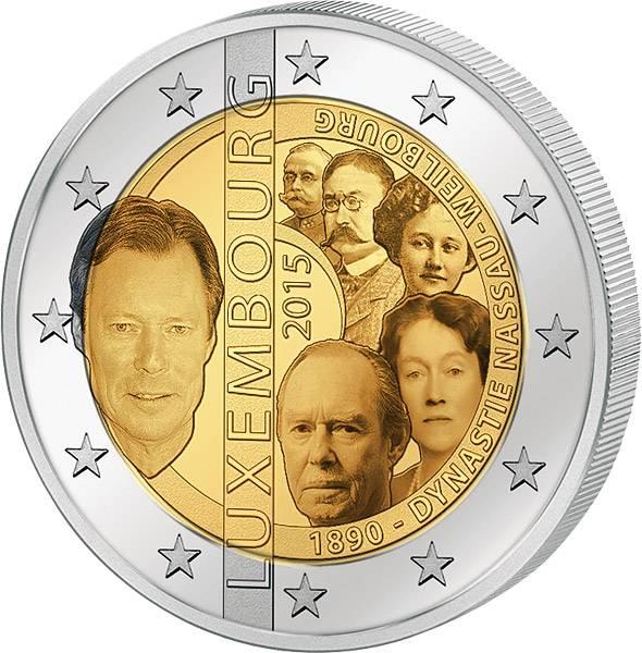 2 Euro Luxemburg 125. Jahrestag der Dynastie Nassau-Weilburg 2015   prägefrisch