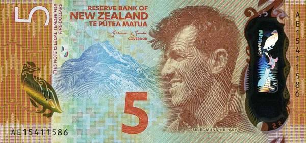 5 Dollars Neuseeland Polymer-Banknote Edmund Hillary 2015