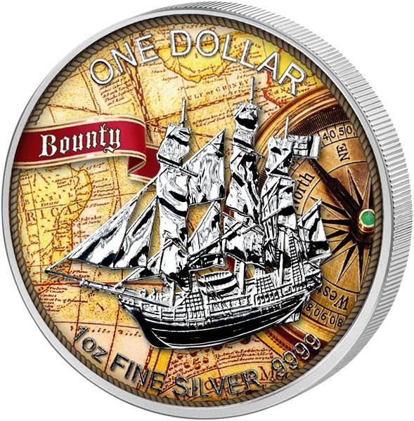 1 Unze Silber Cook-Inseln Bounty 2016 mit Farb-Applikation