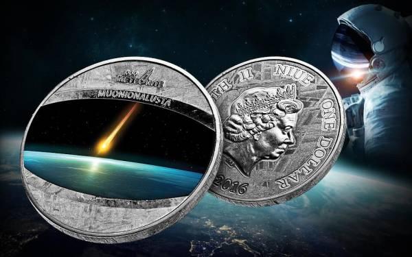1 Dollar Niue Muonionalusta-Meteorit