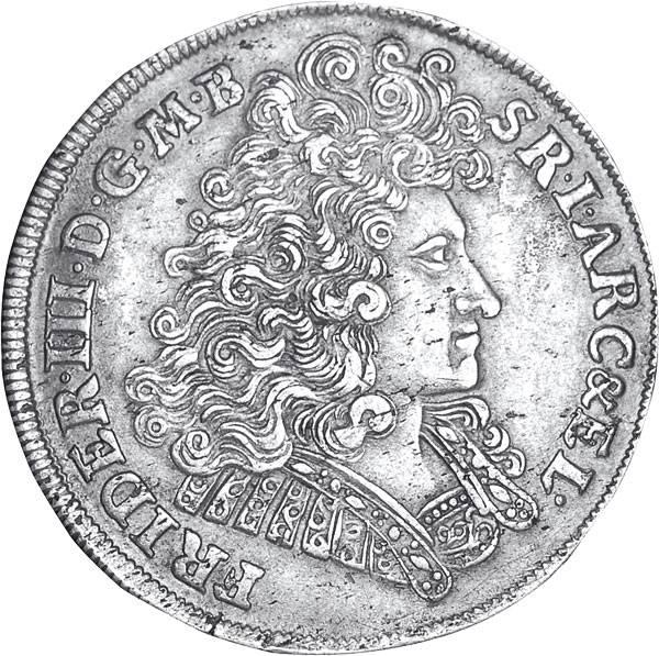 2/3 Taler Brandenburg Kurfürst Friedrich III. 1689-1700 Sehr schön