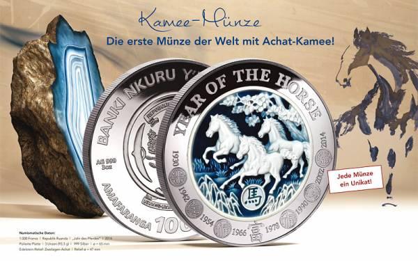1000 Francs Ruanda Kamee-Münze Jahr des Pferdes 2014 Polierte Platte