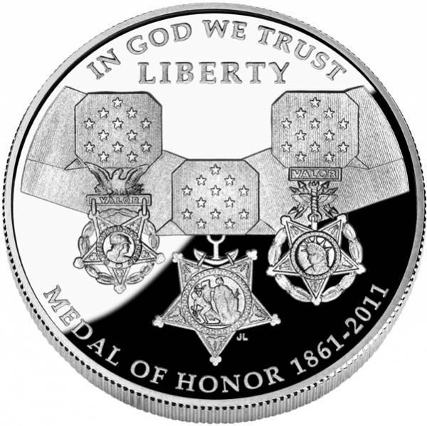 1 Dollar USA Tapferkeitsmedaille 2011 Polierte Platte