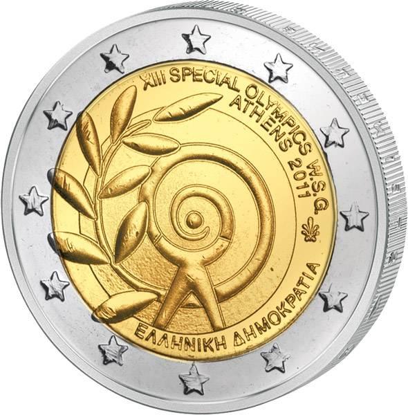 2 Euro Griechenland Special Olympics Athen 2011 prägefrisch