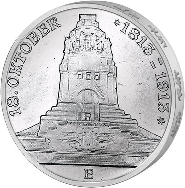 3 Mark Sachsen Völkerschlachtdenkmal 1913 Vorzüglich