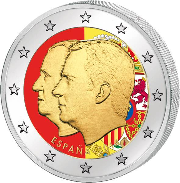 2 Euro Spanien Proklamation König Felipe VI. mit Farb-Applikation 2014  prägefrisch