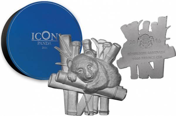 1.000 Francs Gabun Vollskulptur Icon Panda 2016