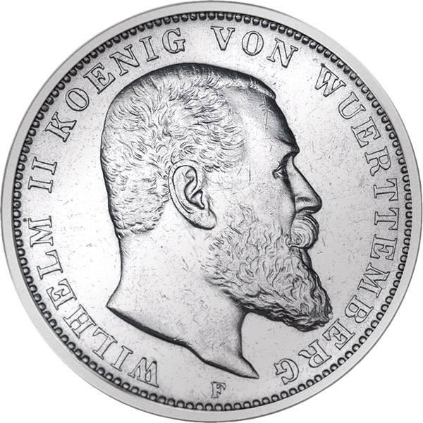 3 Mark Württemberg Wilhelm II. 1908-1914 F Sehr schön