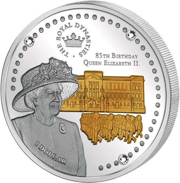 1 Dollar  Salomonen Geburtstag Queen Elizabeth II. 2011  Polierte Platte