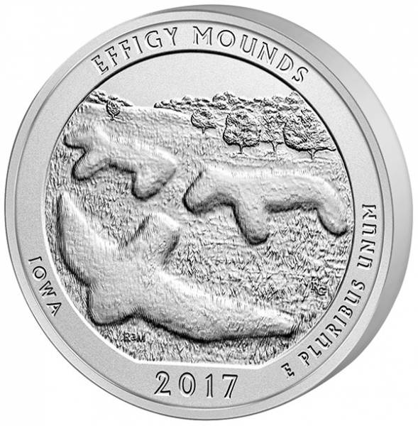 Quater Dollar 25 Cents USA Iowa Effigy Mounds National Monument 2017