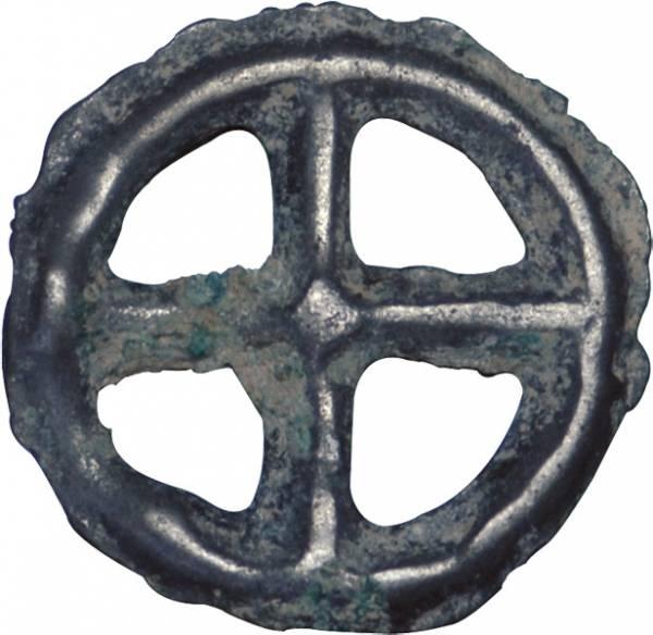 Kreuzrädchen Radgeld-Kelten in Gallien 1 Jh. v.Chr. ss-vz