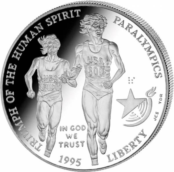 1 Dollar USA Olympiade Atlanta Blinder Läufer 1995 Polierte Platte (PP)