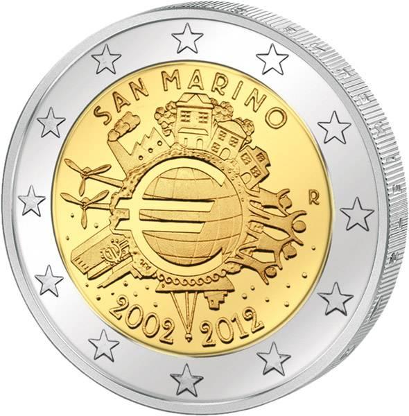 2 Euro San Marino 10 Jahre Euro 2012 prägefrisch