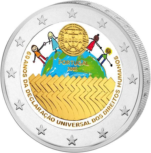2 Euro Portugal 60 Jahre Menschenrechte 2008 mit Farb-Applikation