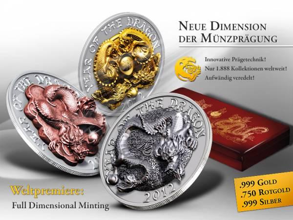 3 x 500 Ruanda-Francs Jahr des Drachen Prestige Set 2012  Stempelglanz
