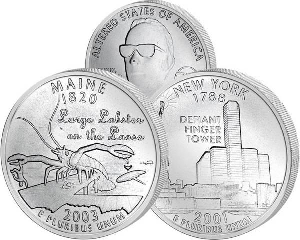 2 x 25 Cents USA Parodie-Quarter 2001/2003 prägefrisch
