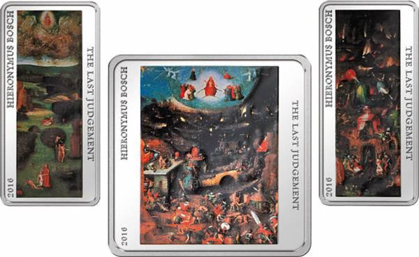 2 x 1 u. 2 Dollars Tokelau Hieronymus Bosch Weltgerichtstriptychon