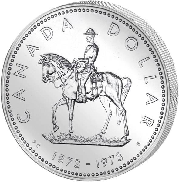1 Dollar Silberdollar Mounted Police 1973  Prooflike