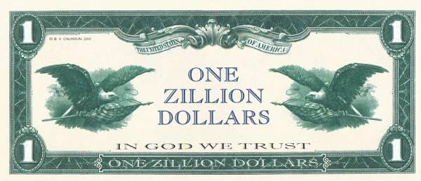 1 Zillion Dollars USA Scherzbanknote div. Jahre kassenfrisch