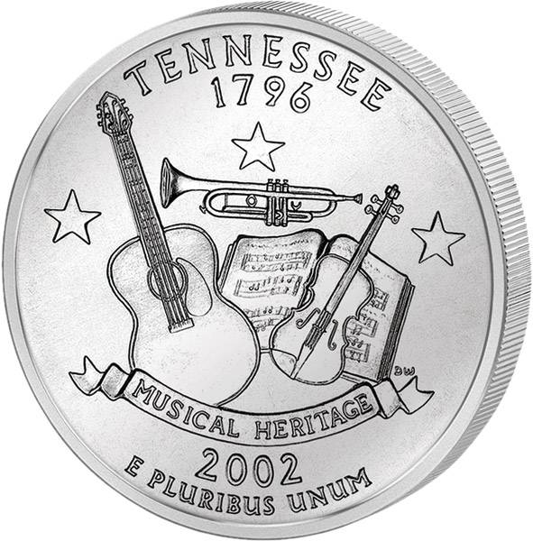 Quarter Dollar USA Tennessee 2002