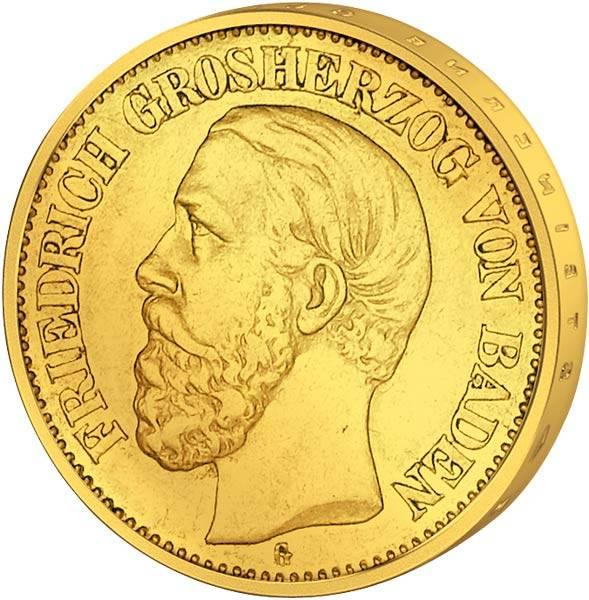 20 Mark Gold Baden Friedrich I. 1894-1895 Sehr schön