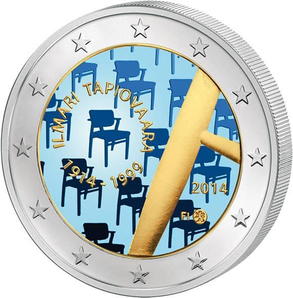 2 Euro Finnland 100. Geburtstag Ilmari Tapiovaara mit Farb-Applikation 2014 prägefrisch