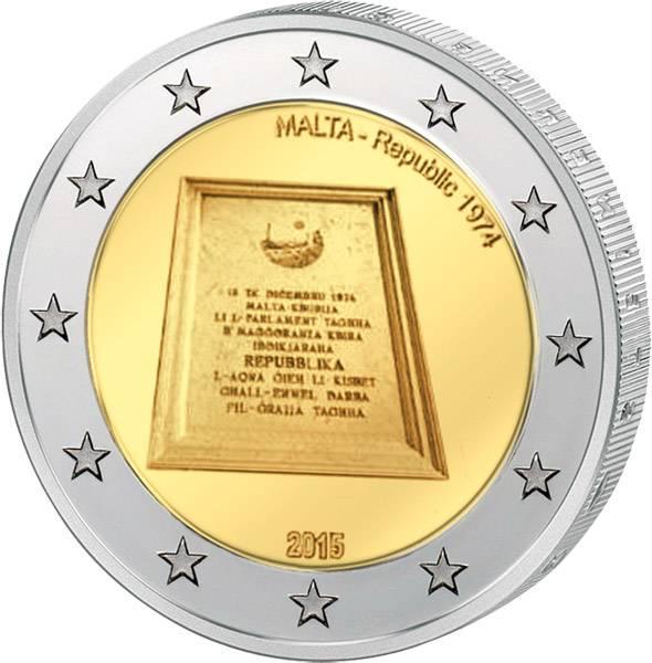 2 Euro Malta 100 Jahre Ausrufung der Republik Malta 2015   prägefrisch