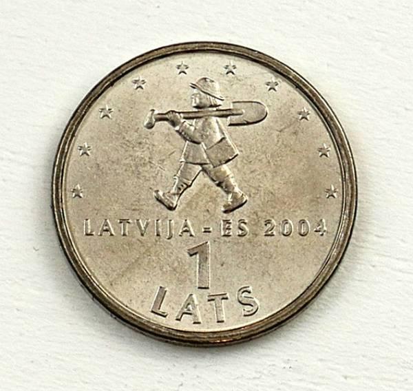 1 Lats Lettland Mann mit Schaufel
