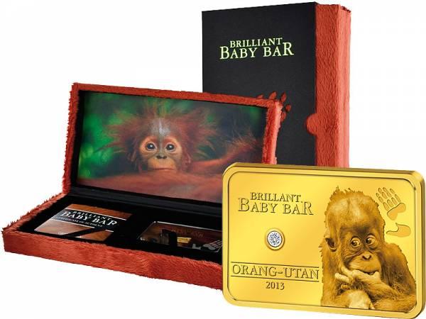 5 Dollars Niue Brillant Baby Bar Orang Utan 2013 Polierte Platte