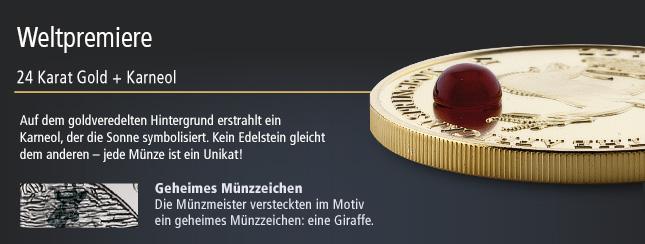 24 Karat Gold mit Karneol-Edelstein
