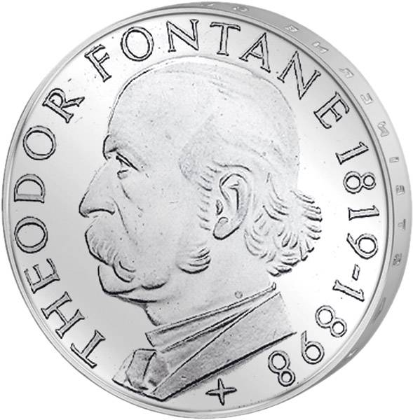 5 DM Münze Münze BRD Theodor Fontane 1969 G Vorzüglich