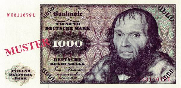 1.000 DM BRD BRD Reprint-Banknote