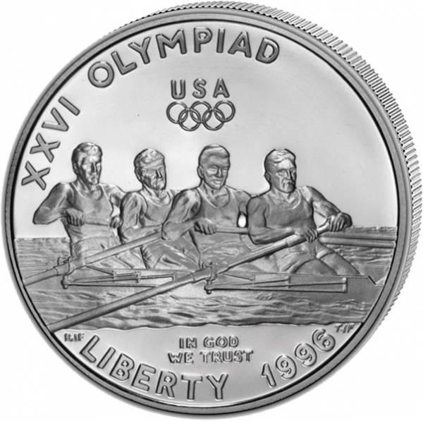 1 Dollar USA Olympiade Atlanta Rudern 1996 Polierte Platte (PP)