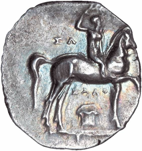 Didrachme Taras in Kalabrien Sohn des Poseidon