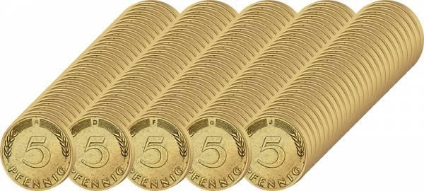 135 x 5 Pfennig BRD Jahrgangsserie 1950-1996 ss-vz