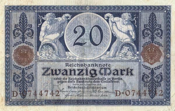 20 Mark  Banknote Bauer und Frau 1915  zirkuliert
