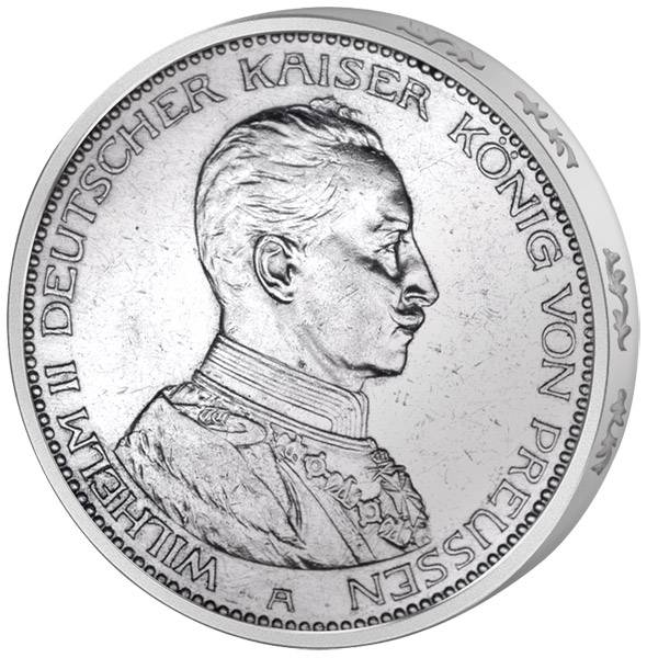 3 Mark Preußen Kaiser in Uniform 1914 Vorzüglich