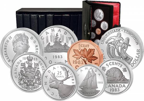 10 Kursmünzensätze Kanada 1981 - 1990   Polierte Platte