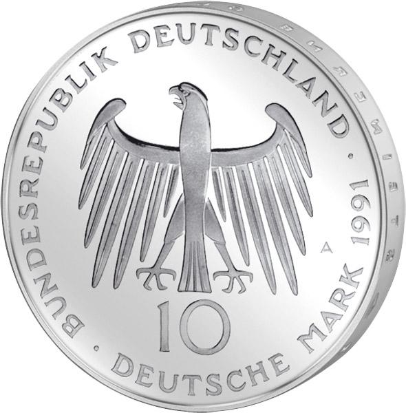 10 Dm Münze Brd Brandenburger Tor 1991 10 Dm Münzen Silber Dm