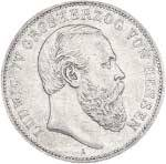2 Mark Hessen Darmstad Großherzog Ludwig IV. 1891 Sehr schön