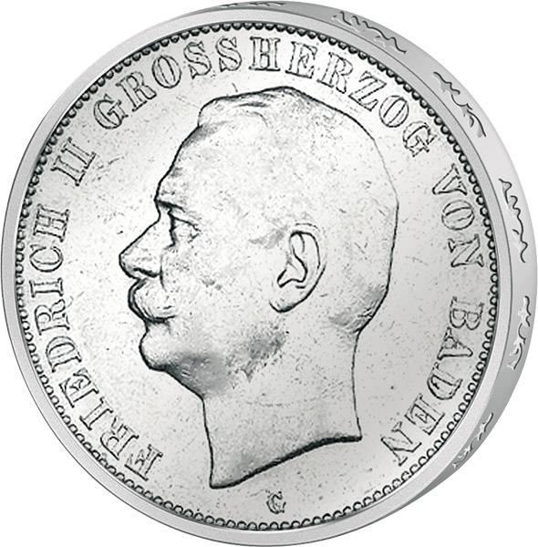 5 Mark Baden Großherzog Friedrich II. 1908-1913 Sehr schön