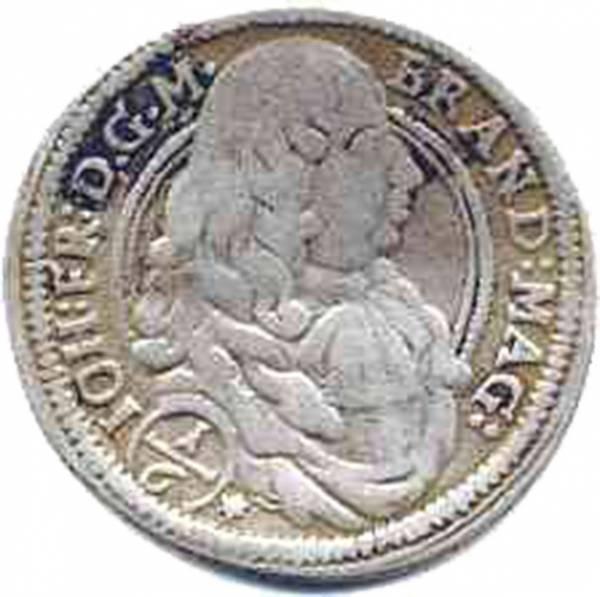 1/6 Taler Brandenburg Bayreuth Markgraf Johann Friedrich 1676-1679 ss-vz