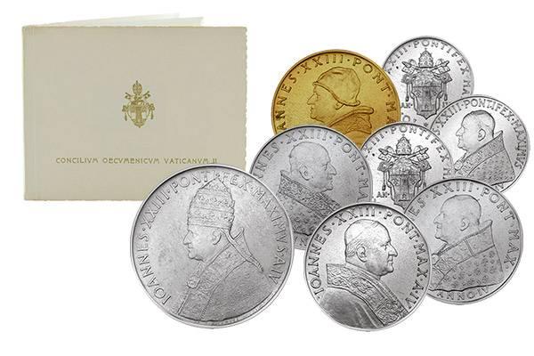 1 Lira - 500 Lira Vatikan Kursmünzensatz 1962