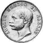 Vereinstaler Silber Nassau Herzog Adolph 1863 ss