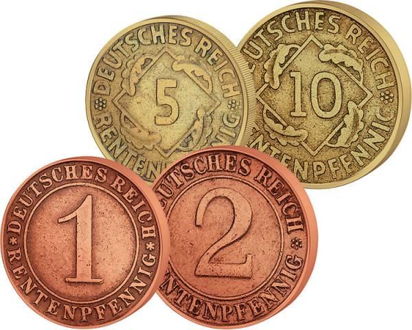 1-10 Rentenpfennige im Set 1923-1924 Sehr schön