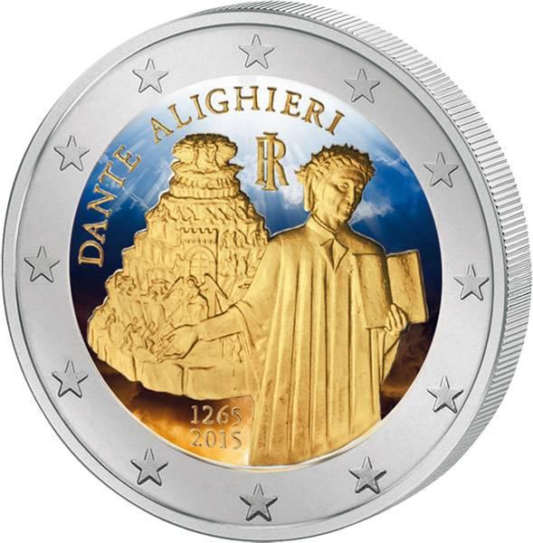 2 Euro Italien 750. Geburtstag von Dante Alighieri 2015 prägefrisch