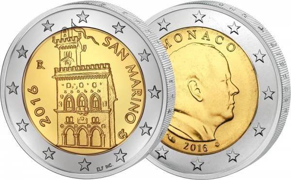 2 x 2 Euro Monaco und San Marino Kleinstaatenset 2016