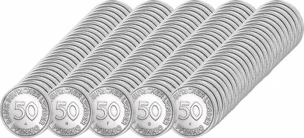 125 x 50 Pfennig BRD Jahrgangsserie